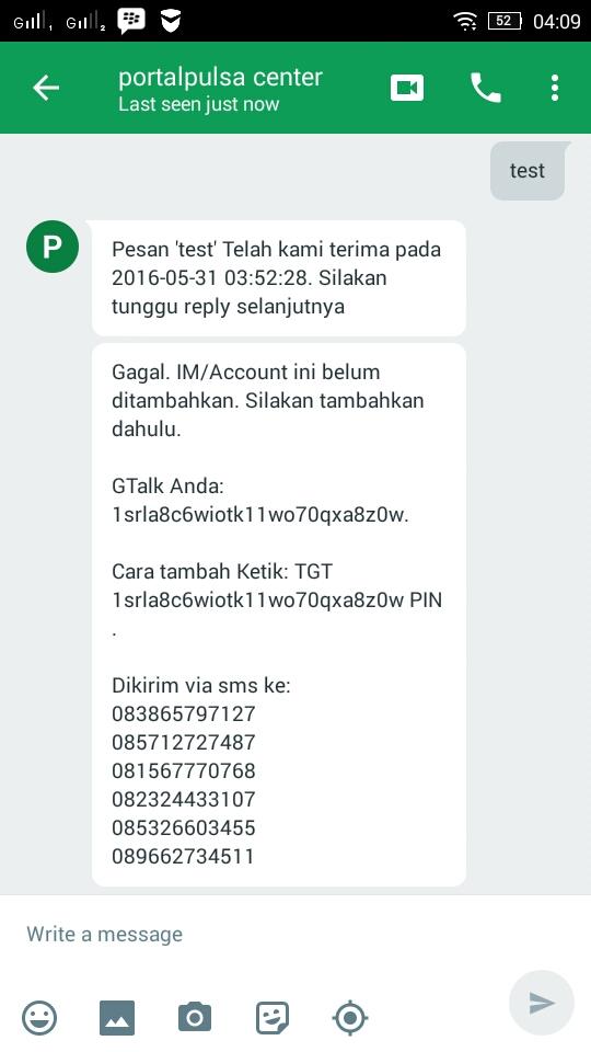 Transaksi Pulsa Lewat Gtalk / Hangouts